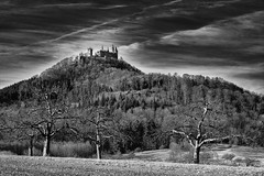 In the Shadow of the Castle - Im Schatten der Burg (W_von_S) Tags: burghohenzollern hohenzollerncastle hohenzollern castle bug badenwürttemberg germany deutschland landscape landschaft panorama paysage paesaggio natur nature wvons werner 2017 sony sw blackwhite schwarzweis bw monochrome monochrom berg mountain outdoor highcontrast hechingen skancheli gallmese