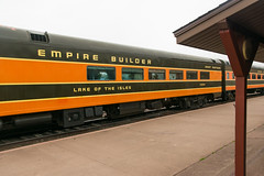16-6910cr (George Hamlin) Tags: duluth two harbors great northern railroad passenger train streamliner empire builder dining car lake isles coach green orange gold station platform canopy superior museum photo decor george hamlin photography preservation operation