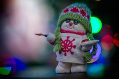 Artist (cuppyuppycake) Tags: holiday christmas snowmen snowman bokeh lights guitar playing music decoration ornament nikon d7200 band button eyes