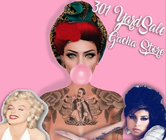 301 YardSale Gacha Store (Frankie Mancino) Tags: secondlife gacha tattoo piercings bubblegum marilynmonroe amywinehouse