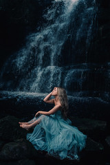Every teardrop is a waterfall (Adam Bird Photography) Tags: adambirdphotography adambird waterfall girl dress blue colour vsco portrait fairytale narrative water rocks fairy flickr explore tulle fashion lowkey dark rosiehardy