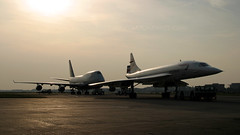 BA Concorde & 747. (spencer.wilmot) Tags: concorde 747 747400 b744 b747 747436 britishairways egll lhr london longhaul sst supersonictransport silhouette heathrow heavy huge taxiway ramp apron aviation plane aircraft airplane airliner airport airside boeing jet jetliner jumbo jumbojet ba baw speedbird widebody