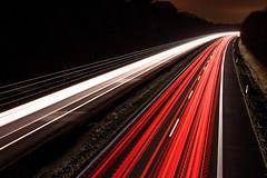 Speed of light (Ir3nicus) Tags: sonsbeck nordrheinwestfalen deutschland nikond750 dslr fullframe niederrhein germany outdoor night lights carlights autobahn a57 motorway freeway highway longexposure langzeitbelichtung lines asphalt dark