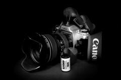 Revival (Rutamatt) Tags: bw canoneos50e analogic film ilford stilllife lightpanting old oldthings camera fotocamera pellicola