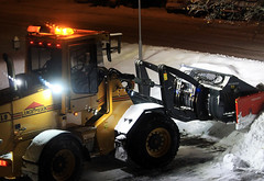Snow Plowing (Linnea from Sweden) Tags: canon eos 1100d efs 55250mm f456 is 456 snow plowing winter night tractor
