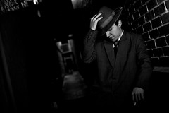 NOIR I (giladvalkor) Tags: noir suit hat blackandwhite bw monochrome alley 1940s 1950s cigarette smoking darkphotography shadows night creepy scary man contrast