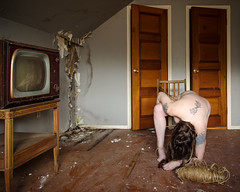 Left to hang like yarn and twine (sadandbeautiful (Sarah)) Tags: me woman female self selfportrait abandoned house tv abandonedhouse