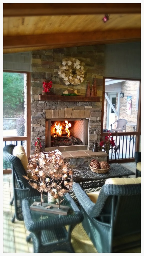 Monessen Outdoor Fireplace and Peterson Woodstack Gas Logs. Chattanooga, Tn.