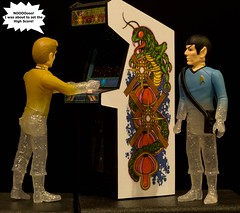 Not Now Scotty! (atari_warlord) Tags: startrek actionfigure arcade atari spock vulcan centipede leonardnimoy reaction funko captainkirk 375 williamshatner bigjw justinwhitlock