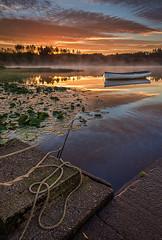loch-rusky-boat-anchor (ajnabeee) Tags: mist sunrise boats dawn scotland loch trossachs aberfoyle lochrusky