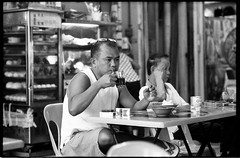 At the coffee shop - Bedok - Singapore (waex99) Tags: street leica portrait man film coffee shop rollei singapore chinese ghosts wat 90mm month 7th m6 bedok 400iso elmarit 90mmf28 rpx palelai