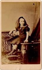 Girl by Hills and Saunders of Eton (EastMarple1) Tags: girl vintage hair studio necklace child basket dress boots box victorian hills metalwork cdv cushion eton hairband saunders