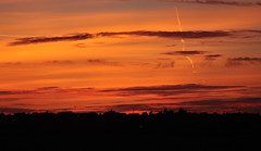 Red Skies at Night.... (littlestschnauzer) Tags: uk autumn light red england sky sun west weather silhouette night rural evening skies village yorkshire horizon farmland september setting surrounds emley 2015