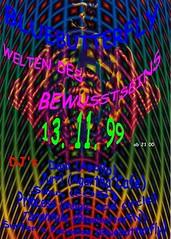 Bluebutterfly-[1999-11-13]-Welten des Bewusstseins _GoaParty@OnLine Club, Basel-Stadt_BS, CH_Switzerland-DJ Tarantula (SkogRa) (Sumu.Varis) Tags: party switzerland flyer dj bs goa 1999 tarantula ch bluebutterfly baselstadt goatrance skogra