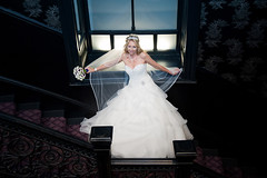 Bride on Staircase (scrimmy) Tags: lighting wedding bride flash gown weddingdress weddingphotography dresss