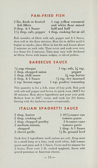 Cooking for a Man, Tested Recipes to Please Him - 1941 - Page 14 (shannonlepak) Tags: food fish cooking vintage recipe cookbook italian sauce ad advertisement 1940s a1 recipes spaghetti 1941 sauces sexism spaghettisauce barbecuesauce friedfish a1sauce panfriedfish