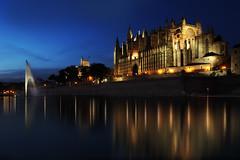 La Seu (Erwin Lorenzen) Tags: skyline nightscape nacht outdoor kathedrale architektur spiegelung gebäude spanien balearen palmademallorca espanya laseu canoneos5dmarkii flickrawardgallery hafenstadtpalma