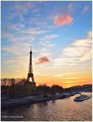 Candyfloss clouds (alcowp) Tags: sunset paris france tower tourism water seine clouds river eau eiffel rivire bateau fra