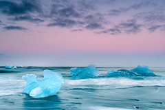Dark Ice (Joe Azure) Tags: iceland azure beach sunrise sunset landscape glaciallagoon jazure glacier sandy seascape blacksand ocean iceberg ice glaciers icebergs