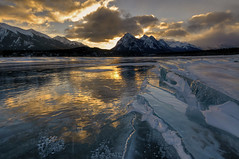 Icy Blue Sunrise (Len Langevin) Tags: frozen abraham lake ice sunrise alberta canada rocky mountains rockies landscape reflection nikon d300s tokina 1116 outdoor outside winter clouds wow io
