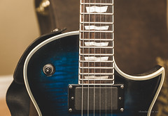 LTD EC-401FM Blue On Black (shanecotee) Tags: electric guitar strings pickups details macro ibanez ltd esp