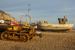 Bulldozer and Fishing Boat RX16, Hastings Beach (Peter Cook UK) Tags: hastings beach fishing bulldozer sussex boat