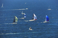 """""""Competitors yachts"""" 2016 Boxing Day """"Sydney to Hobart yacht race"""" in open ocean (nicephotog) Tags: sydney hobart yacht race 2016 flotilla boat competitors sail ocean sea spinnaker start breakthrough ausreo 6834 6755 dark stormy sm69 on tap pyr wot eva 6953 black sheep"""