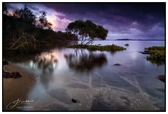 Calm before the storm... (juliewilliams11) Tags: photoborder serene outdoor landscape water shore sky cloud reflection rock moody storm longexposure portstephens newsouthwales australia nature
