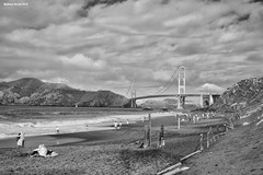 Baker Beach (naturalturn) Tags: beach goldengatebridge goldengate golden gate bridge ocean pacific pacificocean water infrared blackwhite blackandwhite bakerbeach sanfrancisco california usa image:rating=5 image:id=215123