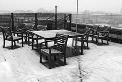 winter at the office (gallmese) Tags: budapest magyarország hungary office iroda tetőterasz topterrace feketefehér blackandwhite schwarzweiss bianconero blancoynegro siyahbeyaz svarthvit tél winter table chair emtpy snow hó schnee