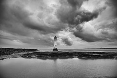 Weather at Perch Rock 5 (another_scotsman) Tags: perchrock lighthouse mersey newbrighton seascape landscape monochrome blackandwhite clouds sky