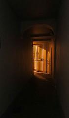 Barnstaple (leavesandpuddles) Tags: doorway passageway passage barnstaple northdevon orange silhouette gate gateway shadow flânerie nightlights boutportstreet flâneur