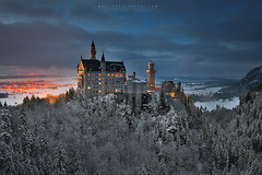Schloss Neuschwanstein (FredConcha) Tags: fredconcha germany fussen neuschwanstein palace castele snow trees sunset night landscape nature lee filters nikon d800 bavaria