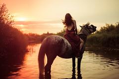 20140802_VK7A0543 (Elvira Zakharova) Tags: equestrian ride horse sun sunset golden hour girl nature river beauty animal rider hair preraphaelite people water