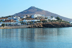 Logaras hill (Katrinitsa) Tags: blue sunset sea summer white mountain colors architecture port landscape island dawn islands mediterranean village view harbour hill relaxing aegean calm greece housing greekislands paros cyclades villagelife backround kyklades pisolivadi logaras villagescape