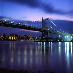 Triborough Bridge (Rafakoy) Tags: city nyc longexposure original sunset summer sky urban ny newyork color 6x6 film weather skyline night clouds mediumformat reflections season square cityscape dusk manhattan slide queens eastriver astoria positive eastharlem expired e6 80mm triboroughbridge 2015 yashinon yashicamatem fujichromevelvia yashinon80mmf35 robertfkennedybridge epsonv600 epsonperfectionv600