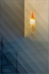 Sailboat on the Lake (PhotoArtMarie) Tags: blue red lake texture water yellow sailboat diagonal creativeedit