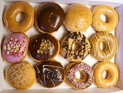 Krispy kreme Doughnuts 229/365 (radleyfreak (offline for a while)) Tags: pink food chocolate cream icing 365 jam doughnuts coloured filling reesespeanutbutter