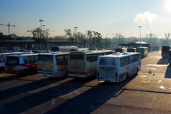 Bus terminal (RafalZych) Tags: morning winter light cold bus station early long fuji shadows angle wide poland polska wideangle scene terminal fujifilm autobus pks lodz d kaliska x100 jelcz dworzec wiadukt autobusowy autosan kaliski wkniarzy wlokniarzy