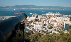 Cannon View (Oliver J Davis Photography (ollygringo)) Tags: city travel cruise sea urban mountain heritage history nature rock port buildings boats bay coast spain europe mediterranean gun commerce cityscape harbour military ships reserve terminal business cannon westside therock mole past residential gibraltar trade reclamation algeciras mv britannia rockofgibraltar iberianpeninsula detachedmole upperrock bayofgibraltar mvbritannia oliverdavisphotography oliverjdavisphotography
