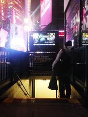 IMG_4336 (niklas iliffe) Tags: nyc newyork underground subway lights neon timessquare goingdown