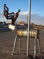 Rudolph the red nosed muffler-deer? (DEMcSee) Tags: newmexico statue reindeer junk nm alamogordo junkstatue