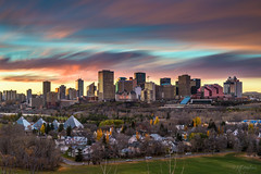 Fall In Love With Fall (Explored) (WherezJeff) Tags: ca longexposure autumn sunset canada skyline cityscape edmonton alberta 2015