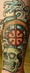 (cleofysh) Tags: tattoo skull oneofakind wave creation safwan originaldesign shipswheel imagostudiomontral symbolofmontral proudtobeamontrealer tattooartistsafwan