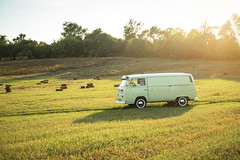 VW T2 (Andrey Baydak) Tags: volkswagen vw transporter typ2 type2 t2 van panelvan green classic retro oldtimer 1970s 1973 whitewall aircooled field countryside landscape sunset flare зеленый дорожка поле закат automotive 2470 sideprofile