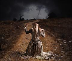The Refugee (R. Keith Clontz) Tags: refugee orphan twister tornado runningaway conceptualart wartorn seekingshelter rkeithclontz raggeddress raggedclothing tattereddredd