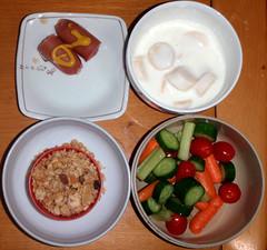 #9840 breakfast: granola, veggies, yogurt with banana, chicken sausage (Nemo's great uncle) Tags: food 食事 funabashi 目 setagayaku 世田谷区 tōkyō 東京