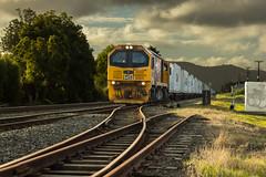 Siding (zebedee1971) Tags: landscape sun sunlight rail railway kiwirail locomotive hamilton light sunset dusk tracks trees sky clouds ballast metal hills newzealand