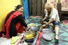 The Cooking Class (peterkelly) Tags: digital canon 6d india asia orchha cookingclass womenexpression women woman smiling smile oil hotoil rolling dough fryingoil blue cook chef gadventures essentialindia