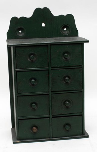 Green 8 Drawer Yellow Pine Hanging Spice Cabinet ($246.40)